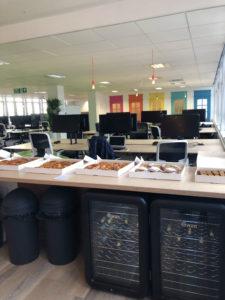 Cakes in kitchen in new Futrli offices in Brighton UK